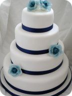 Navy Rose Wedding Cake