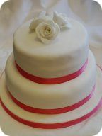 Two Tier White Rose Wedding Cake