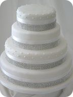 Diamante Piped Dot Wedding Cake