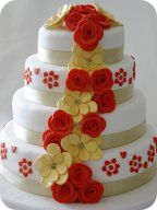 Gold and Red Flower Cascade Wedding Cake