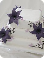 Purple Lilies and Butterflies Wedding Cake