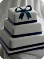 Navy Bow Wedding Cake