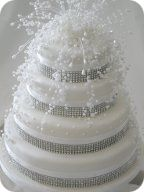 Pearl and Crystal Topper Wedding Cake