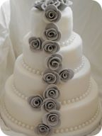 Rose Cascade Wedding Cake with pearl trim