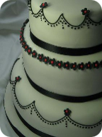 Three tier monochrome wedding cake