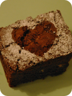 Wedding love heart brownie