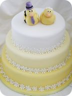 Yellow Ombre Daisy Wedding Cake